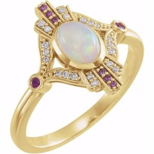 14k Cabochon Ethiopian Opal, Pink Sapphire & Diamo